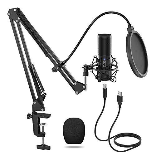 Kit de microfone USB Tonor com condensador Q9 para computador, microfone cardióide para Podcast, jogos, vídeo do YouTube, transmissão, gravação de música, sobrevoando a voz