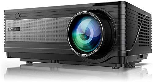 YABER Projetor Y21 Native 1920 x 1080P 7000L Upgradad Full HD, suporte 4K e zoom, projetor de casa e exterior compatível com antena de TV, HDMI, VGA, USB, iPhone, Android, laptop, PS4, Xbox