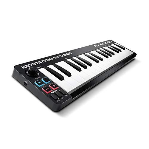 M Audio Keystation Mini 32 MK3 – Mini controlador de teclado USB MIDI ultra portátil com ProTools First, M Audio Edition e Xpand 2 da Air Music Tech