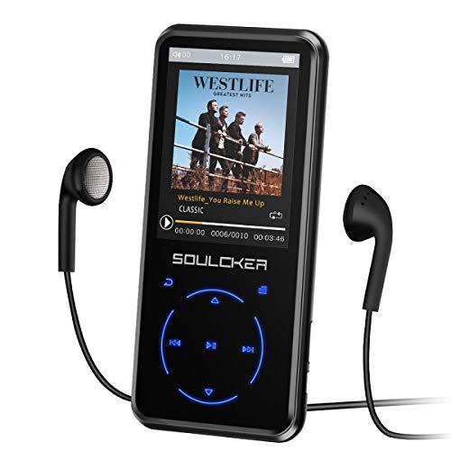 Leitor de MP3, leitor de MP3 de 16 GB com Bluetooth 4.0, leitor de música MP3 portátil HiFi sem perda com gravador de voz FM E-Book de 2,4 polegadas, suporta até 128 GB (fone de ouvido, braçadeira esportiva incluída)