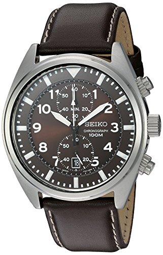 Seiko Relógio masculino SNN241 de aço inoxidável com pulseira de couro marrom