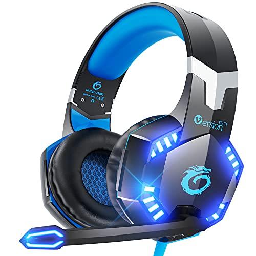 VersionTECH. Fone de ouvido para jogos estéreo G2000 para PC, Xbox One, PS4, Nintendo Switch, fones de ouvido com fio para jogos com som surround 3D, microfone com cancelamento de ruído, controle de volume e luzes LED