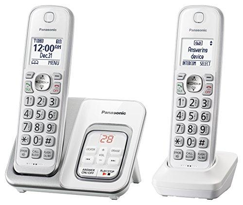 Sistema de telefone sem fio expansível Panasonic, Identificador de chamada + secretária eletrônica, Branco, 2 Handsets
